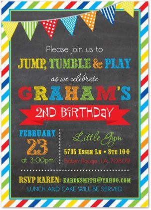 brawny stripe frame chalkboard boy birthday invitations prime