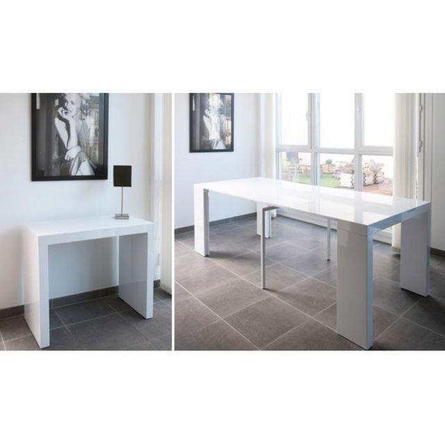 console extensible blanche 250cm laque marlene - Table Console Extensible Blanc Laque
