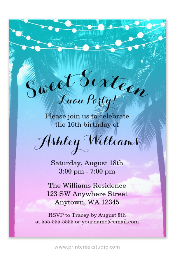 Tropical Luau Teal Pink Sweet 16 Birthday Invitations ...