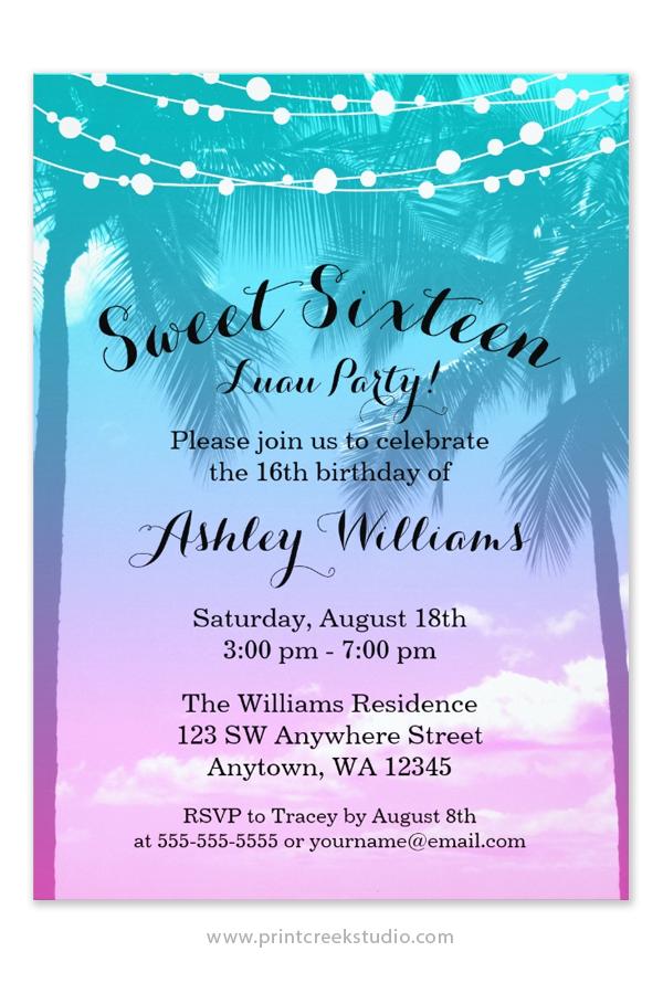 Tropical Luau Teal Pink Sweet 16 Birthday Invitations ...