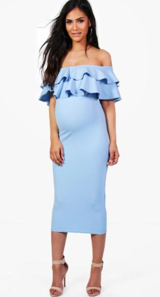 20c99c9e5468 Beautiful light blue off-the-shoulder maternity dress