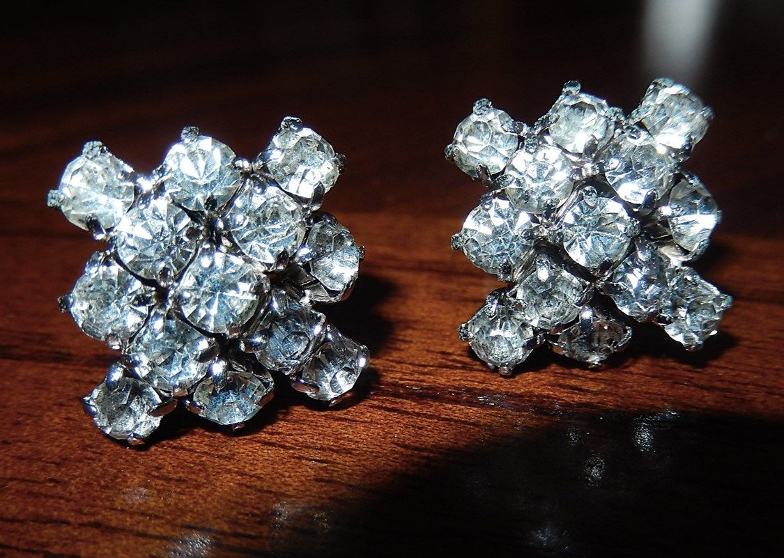 Western Pleasure Show Vintage Crystal Clip On Earrings