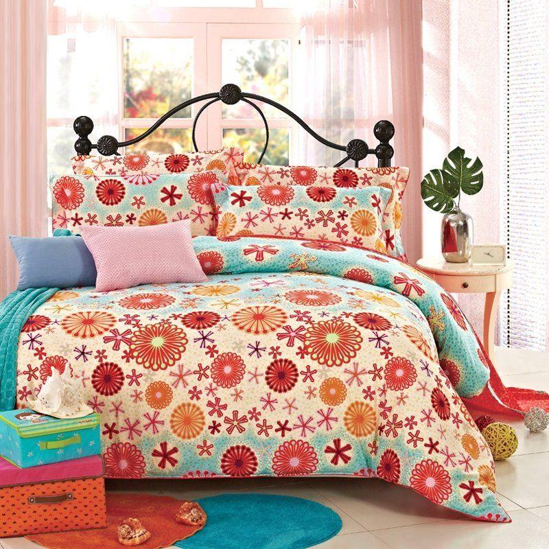 Orange Flower Bedding Bedspread Bedroom Sets Bedding