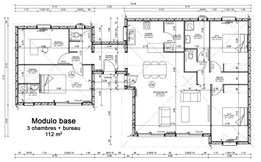 Plan rez-de-chaussée Sylveal-Modulo base PLANOS Pinterest House