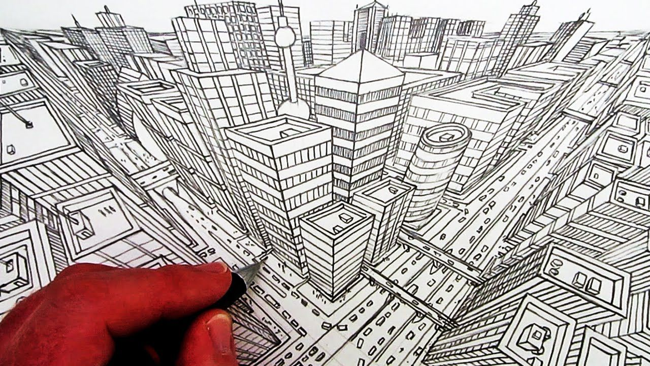 Line Art Design Tutorial : How to draw a city in three point perspective perspektif