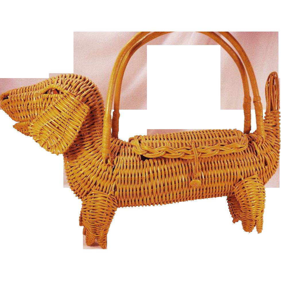 Vintage Yellow Wicker Figural Daschund Dog Purse