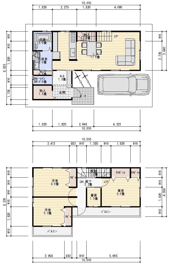 27坪の狭小住宅 間取り例 2階建てプラン 28坪 間取り 間取り 住宅