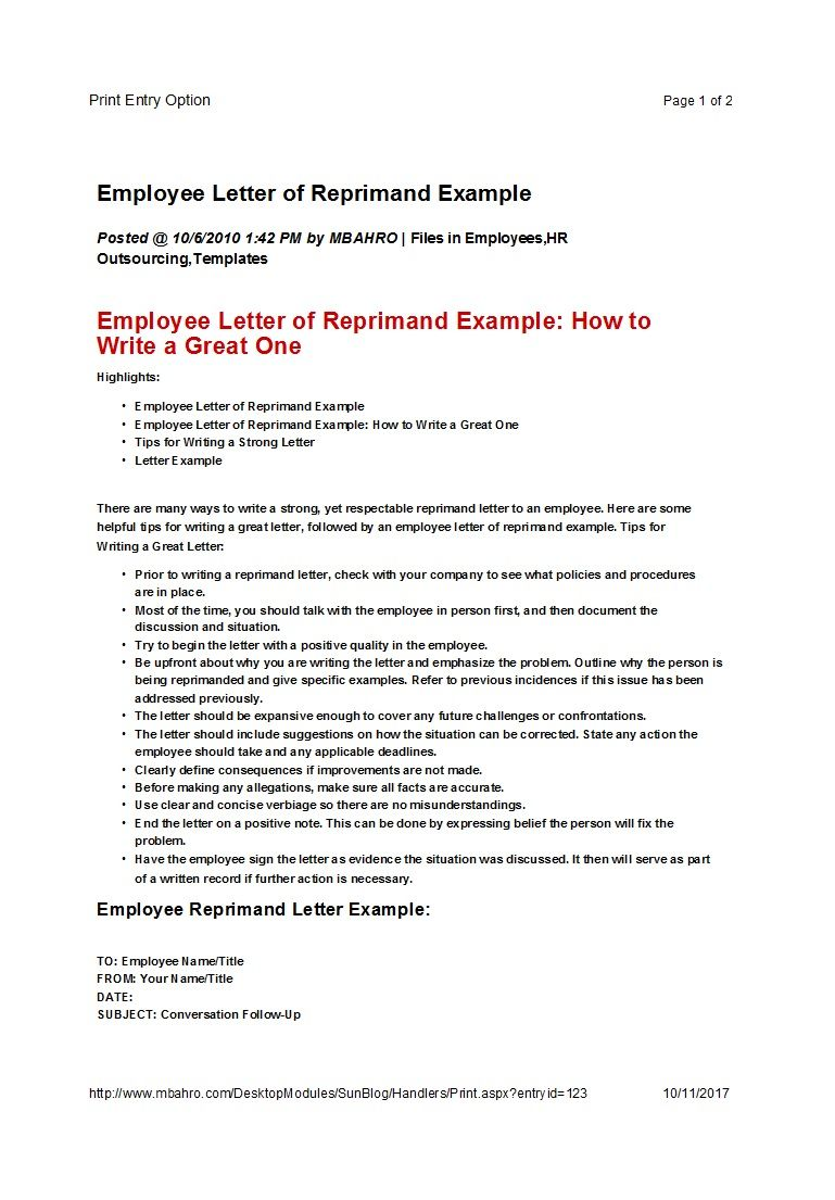 50 Effective Letters Of Reprimand Templates Ms Word ᐅ In Letter