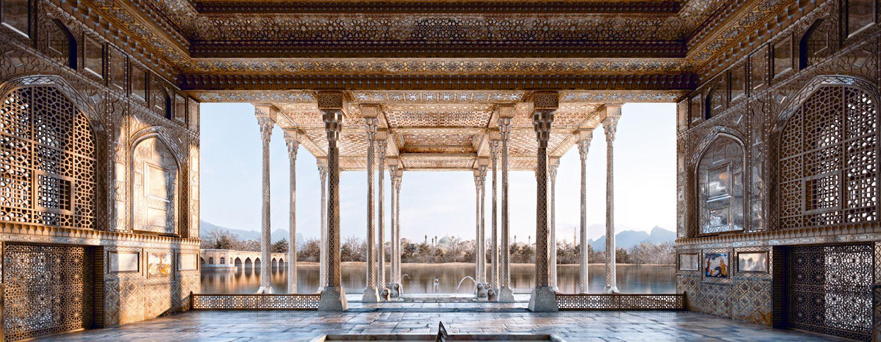 mohammad yazdi rad digitally reconstucts ayine khaneh palace in isfahan, iran
