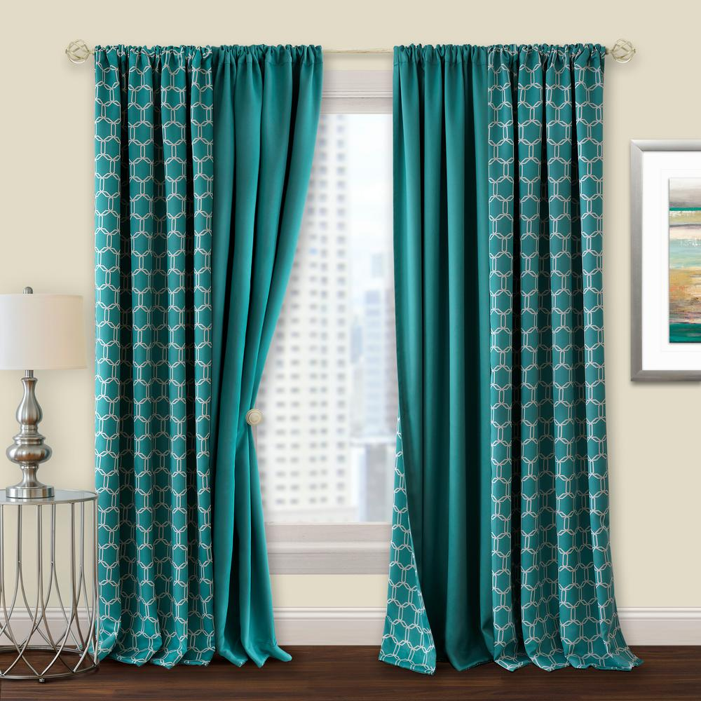 Achim Prelude 50 In W X 84 In L Reversible Blackout Rod Pocket Curtain Panel In Turquoise Pepn84tq06 The Home Depot In 2020 Turquoise Curtains Rod Pocket Curtain Panels Panel Curtains