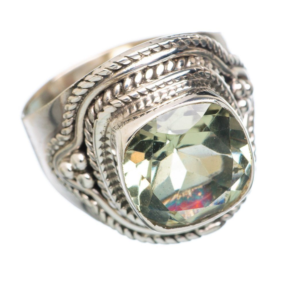 Faceted Green Amethyst 925 Sterling Silver Ring Size 7.25 RING747606