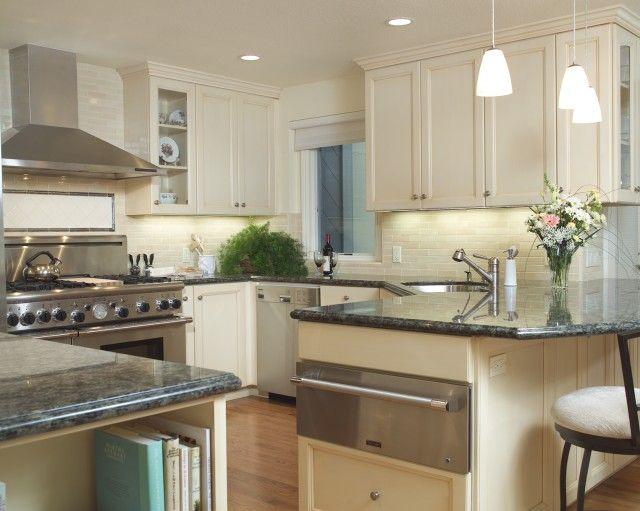 Kitchen Color Palette With Green Granite Countertops Peninsula