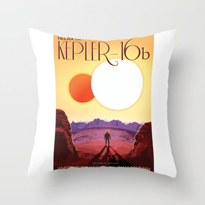 Relax on Kepler 16b vacation advert Throw Pillow by hightonridley