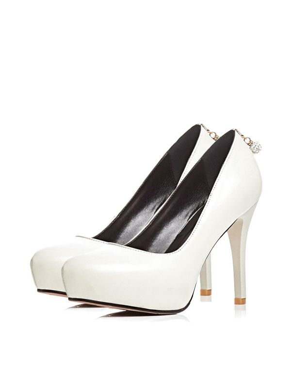 White Chunky Sole Patented High Heels
