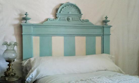 Cabecero individual antiguo de rayas madera pintura papel - Muebles craquelados ...