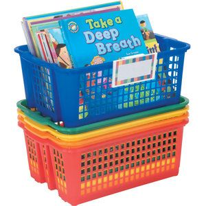 Classroom Stacking Baskets, Medium With Universal Label Holders - 5-Pack, Primary
