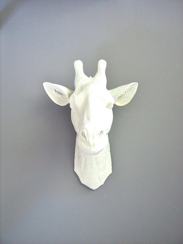 Animal Head Wall Decor White : Faux taxidermy large white giraffe head wall mount
