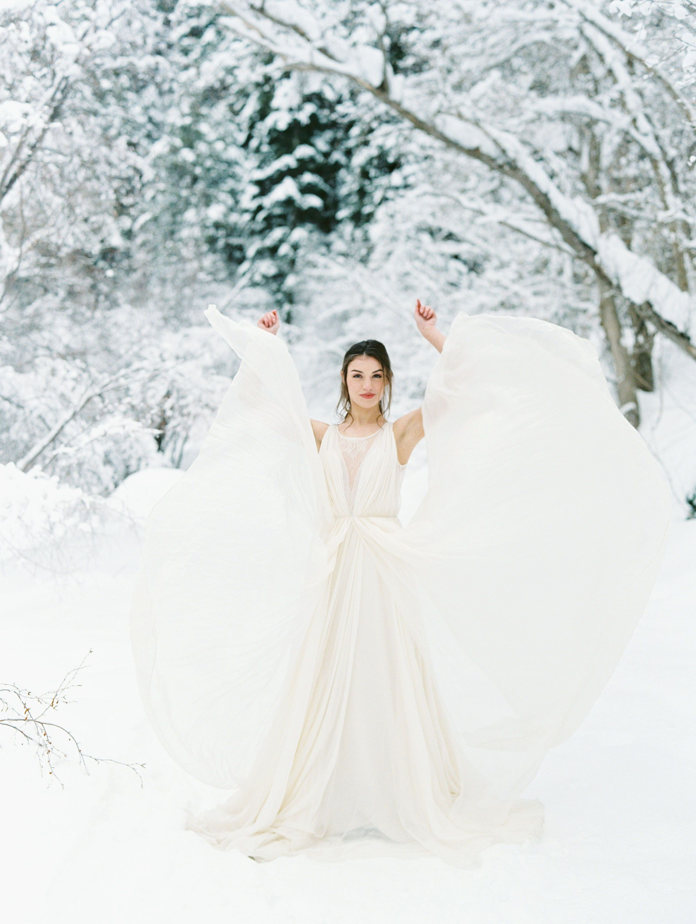 Winter Wedding Romantic Snow Trees Forest Beautiful Attire Outfit Inspiration Aesthe Winter Wedding Brides And Bridesmaids Winter Wedding Inspiration [ 3184 x 2397 Pixel ]