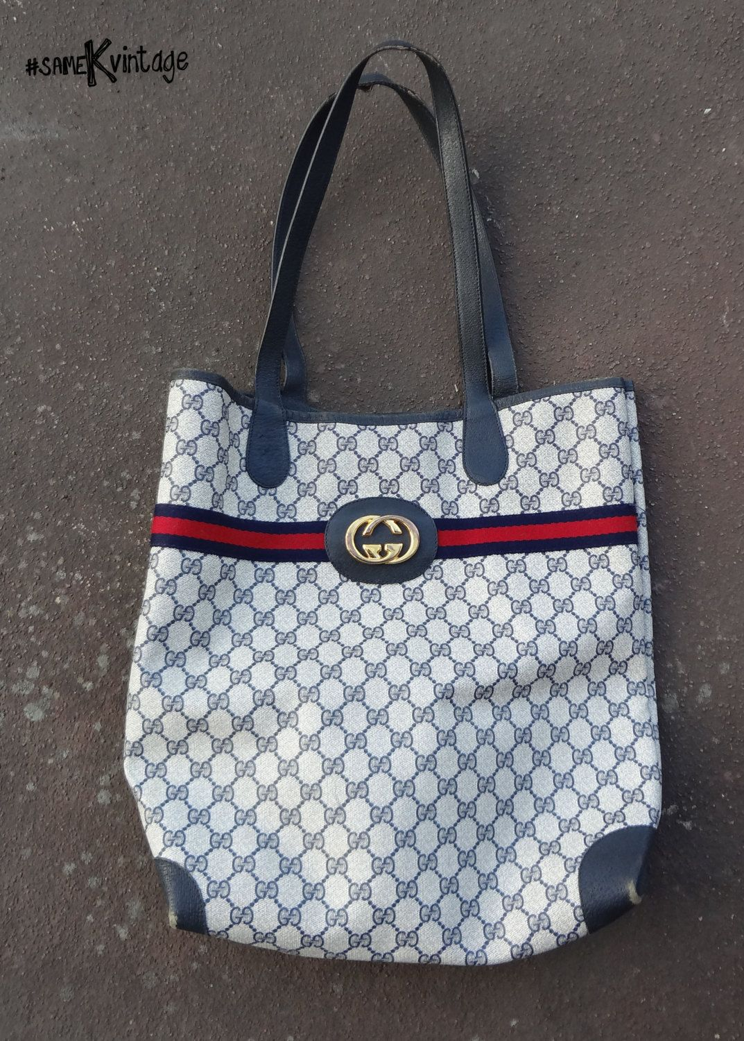 8e2d733eafe5 Authentic  Vintage  GUCCI Large  Tote GG Blue Monogram  002-904-0131   Shoppers Tote  Shoulder  Bag  Designer Fashion  Free Shipping USA by   sameKVintage on ...