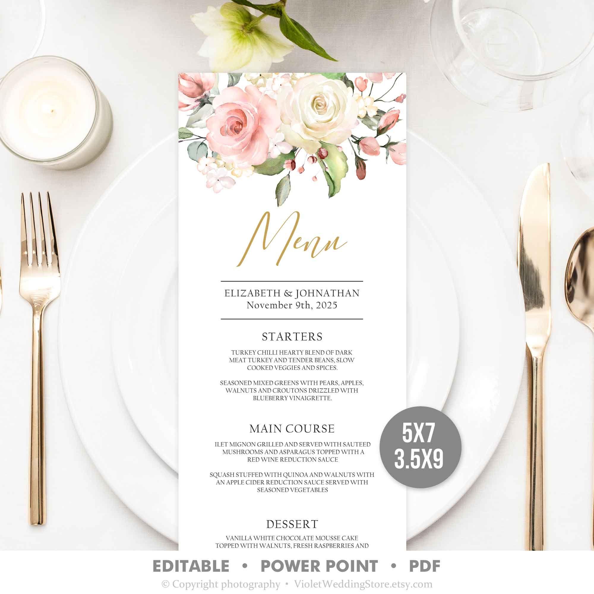 Boho Blush Pink Roses Menu Template, Floral Wedding Menu Printable, Edit Youself Dinner Menu INSTANT DOWNLOAD BPRS74 #weddingmenutemplate