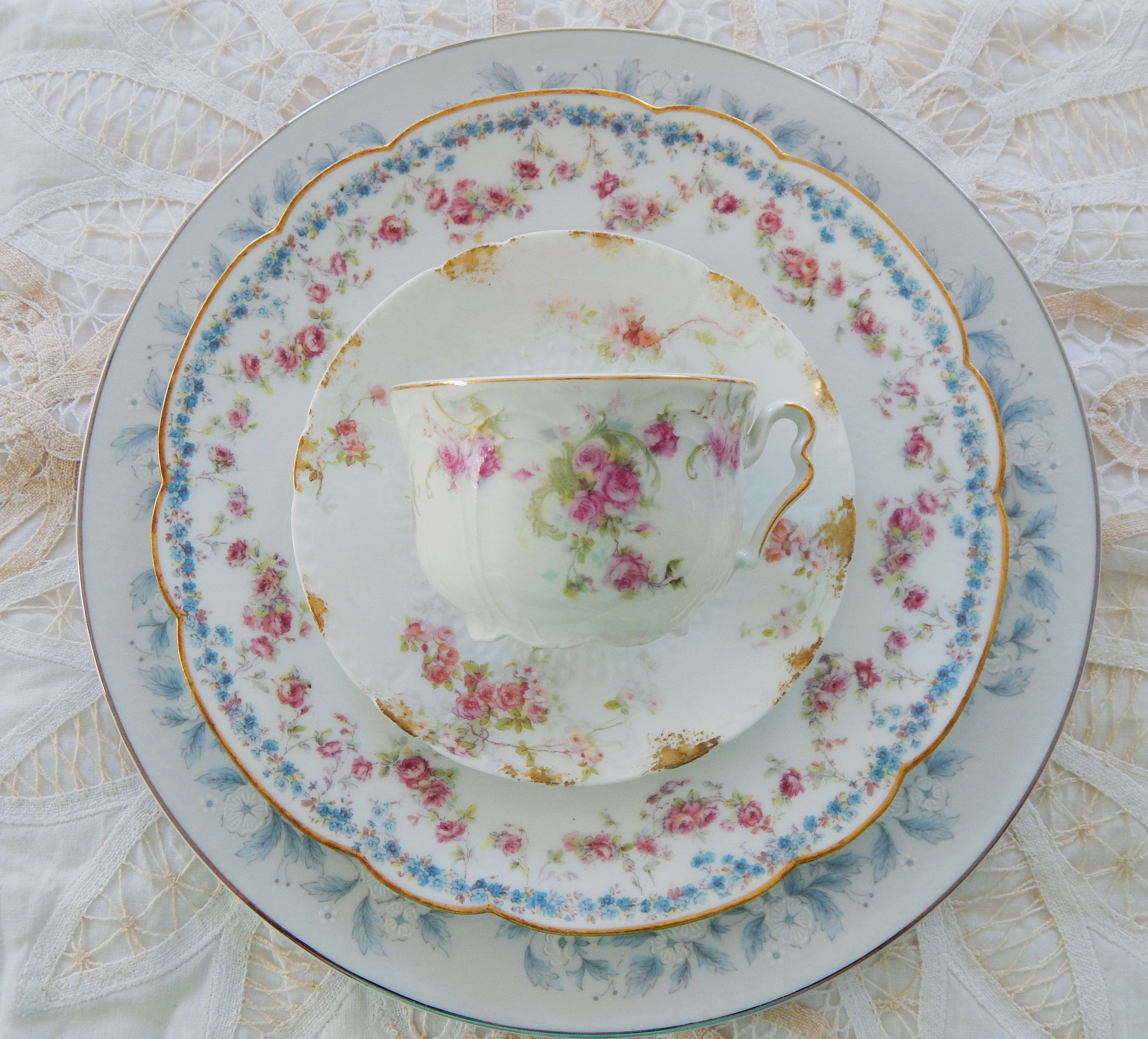 Vintage China Plates Tea Cups And Saucer Mismatched Dinnerware 4