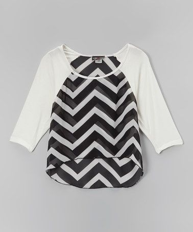 Another great find on #zulily! Black & White Chevron Hi-Low Raglan Top by Zoe #zulilyfinds