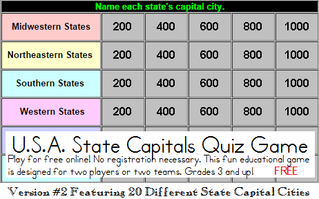 State Capitals Quiz Game - Free to Play Online! Twenty states and