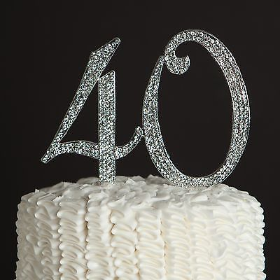 Cake Topper Number 0 Silver Diamond Birthday Anniversary Party Decorations