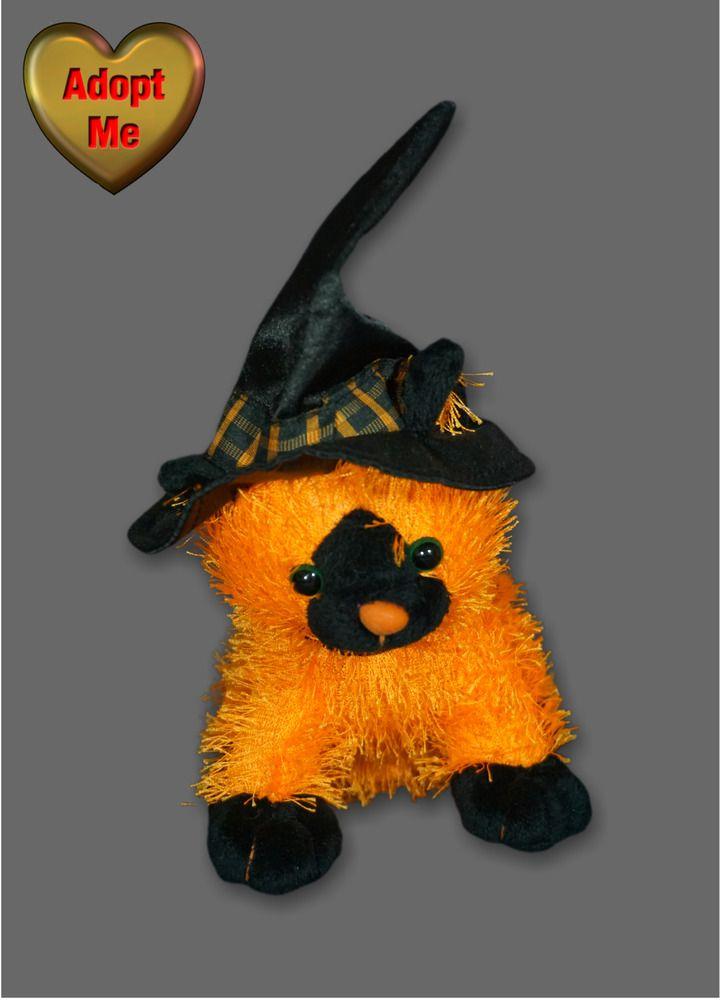 Plushland Halloween Orange Cat Black Witch Hat Meow Sound