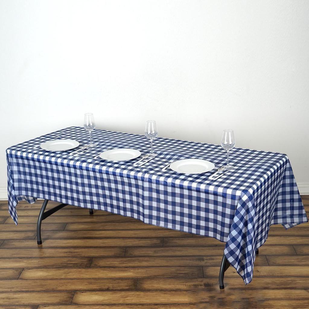 Buffalo Plaid Tablecloth 54 X 108 Rectangular Spill Proof Tablecloths White Navy Disposable Checkere In 2020 Plaid Tablecloth Waterproof Tablecloth Table Cloth