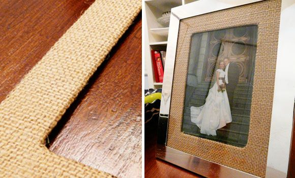 Cover pic matt with burlap: http://budgetwisehome.com/this-week-decorating-with-burlap/