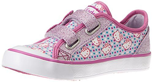 Low-top sneaker featuring Hello Kitty and polka-dot upper with shimmering  hook-and-loop closure and heel counter  Traction toe bumper  Rubber outsole