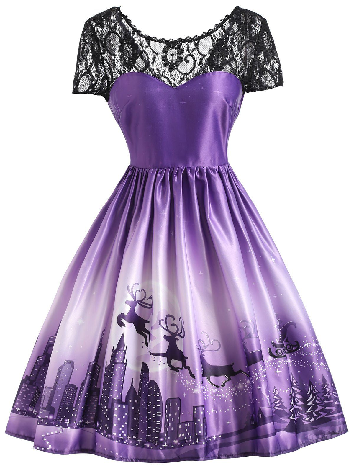 Christmas Elk Lace Yoke Vintage Dress | Vestiditos