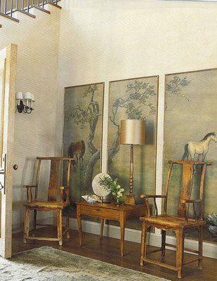 Chinoiserie Art Panels Asian Entrance Foyer Madeline Stuart
