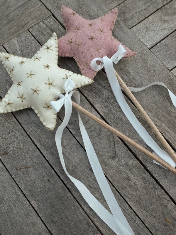 Flower Girl Basket Alternative - Personalized Felt Star Wand (with embroidery #star #want #flower #girl