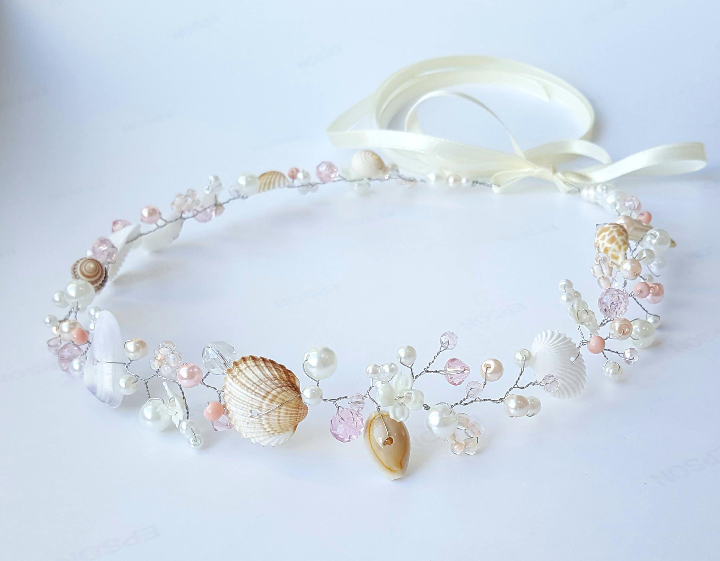 Beach Bridal Tiara Wedding Seashell Headpiece Bridal Flower Crown
