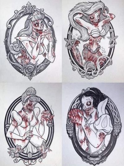 Zombie Princess Tumblr Disney Tattoos Zombie Princess Dark Disney Art