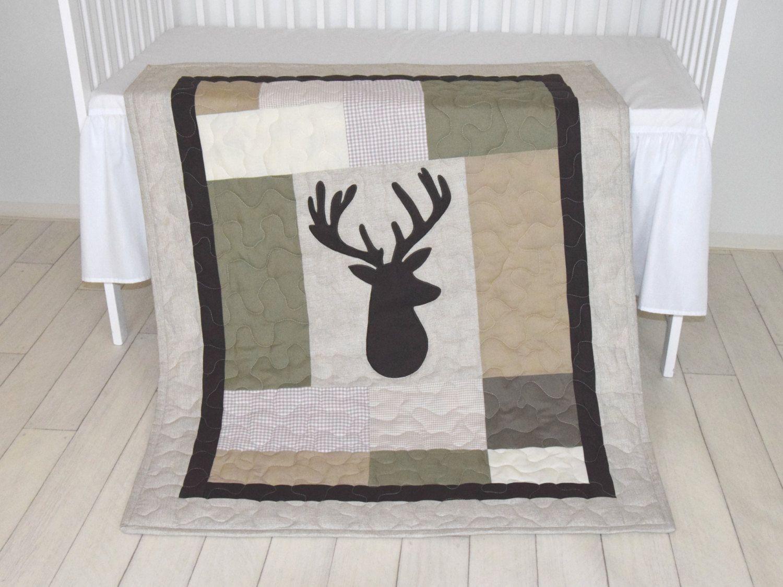 Elegant Deer Head Baby Blanket, Hunting Quilt Blanket, Brown, Cream, Beige And Green,  Baby Patchwork Blanket, Antler Blanket I Love The Themed Childrens Room, ...