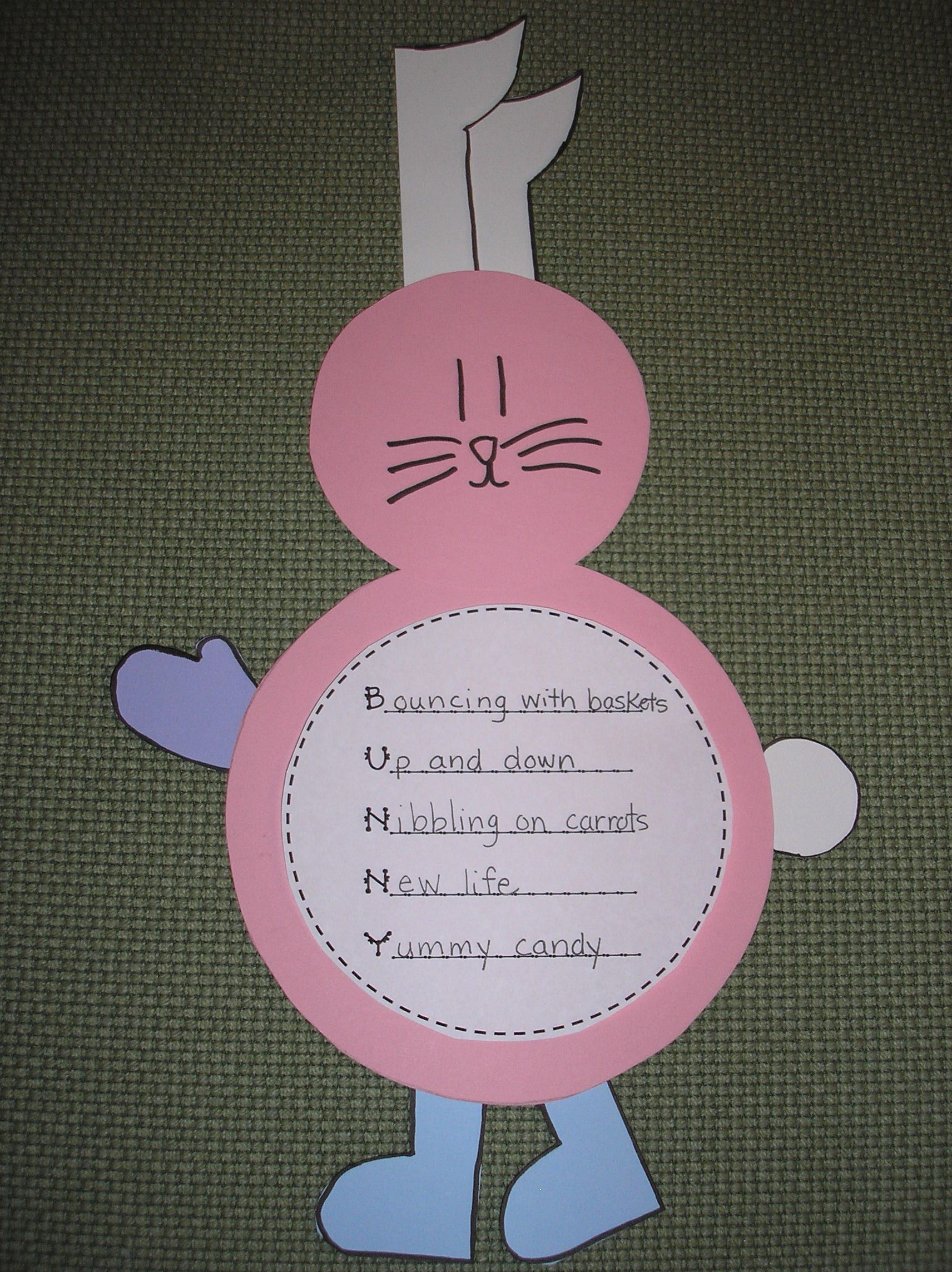 Freebie Bunny Acrostic Poem And Craftivity