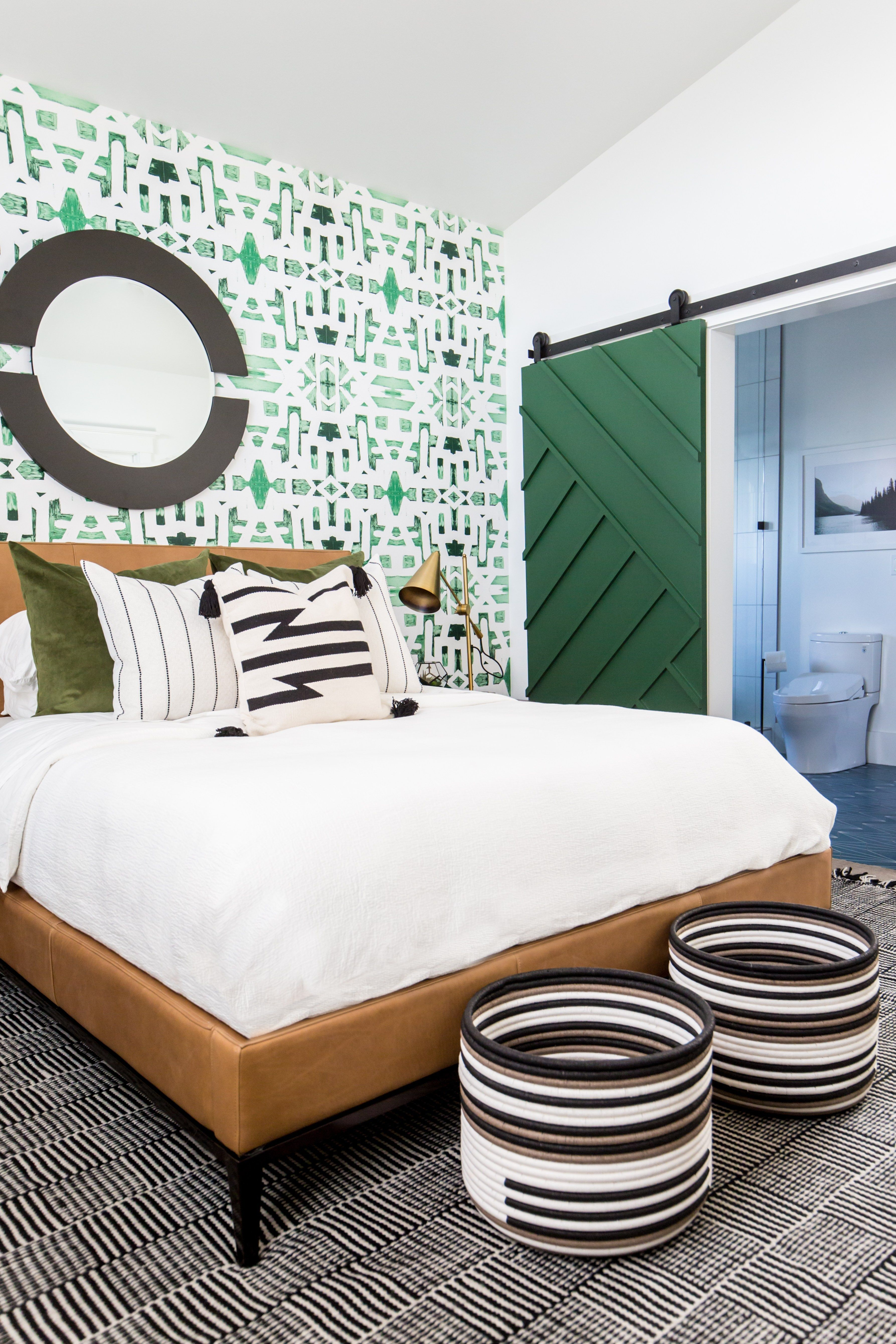 Graphic Green Wallpaper On The Back Wall Wood Paneled Ceiling Leather Bed Frame And Headboard Pi Bedroom Headboard Barndoor Headboard Headboards For Beds