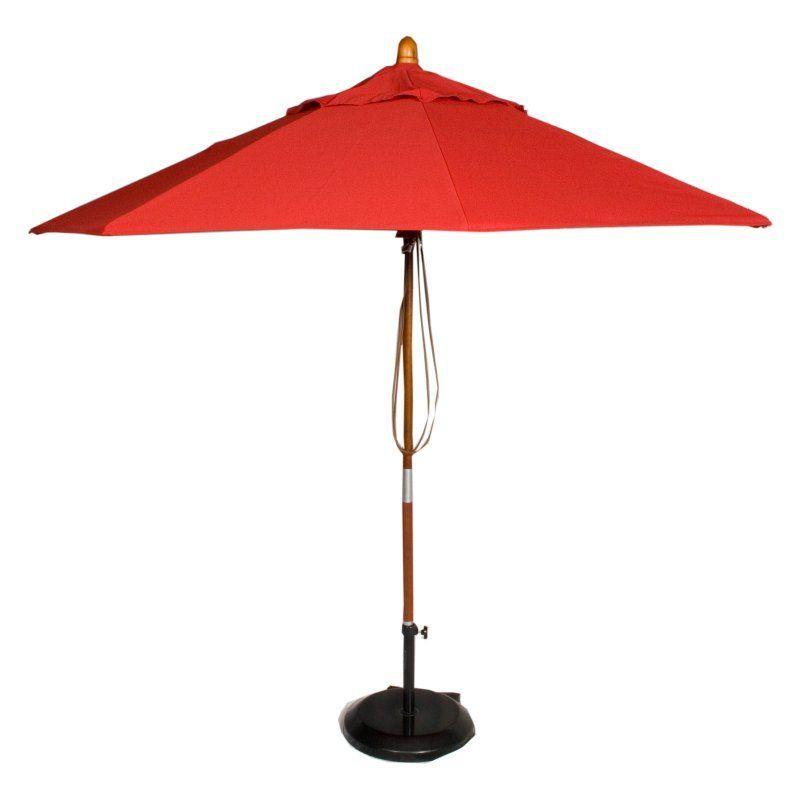 Phat Tommy 9 ft. Marenti Wood Sunbrella Patio Umbrella Jockey Red - 330-MARE908.SUN.JOCKEYRED