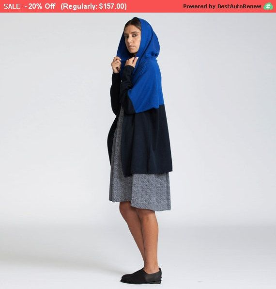 20% OFF Knit Hoody Cardigan blue Hoodie Oversize by AndyVeEirn
