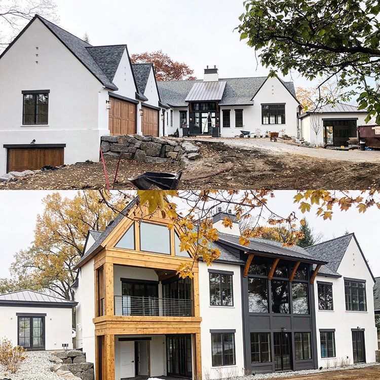 This Home Has So Much Of My Dream House Qualities Steep Roof Pitches Large Large Black Windows White Exterior Pitched Roof House Roof Modern Farmhouse Plans
