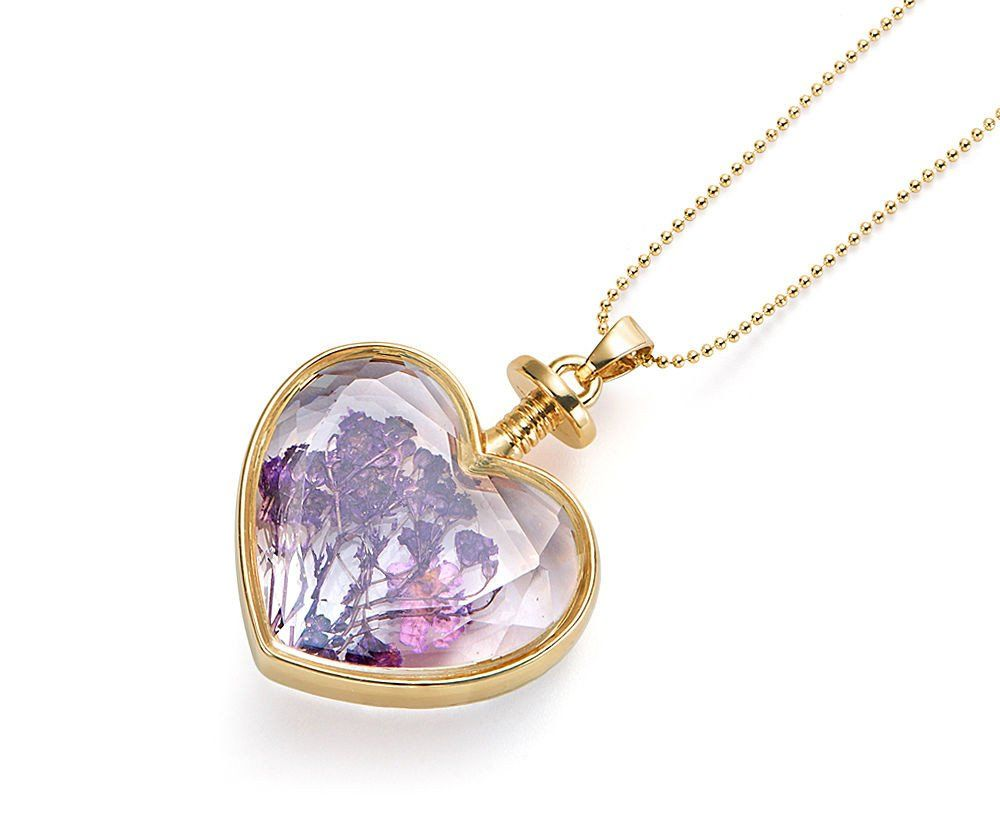 Vintage Lilac Glass Heart Crystal Pendant Necklace – Pretty Kitty Fashion