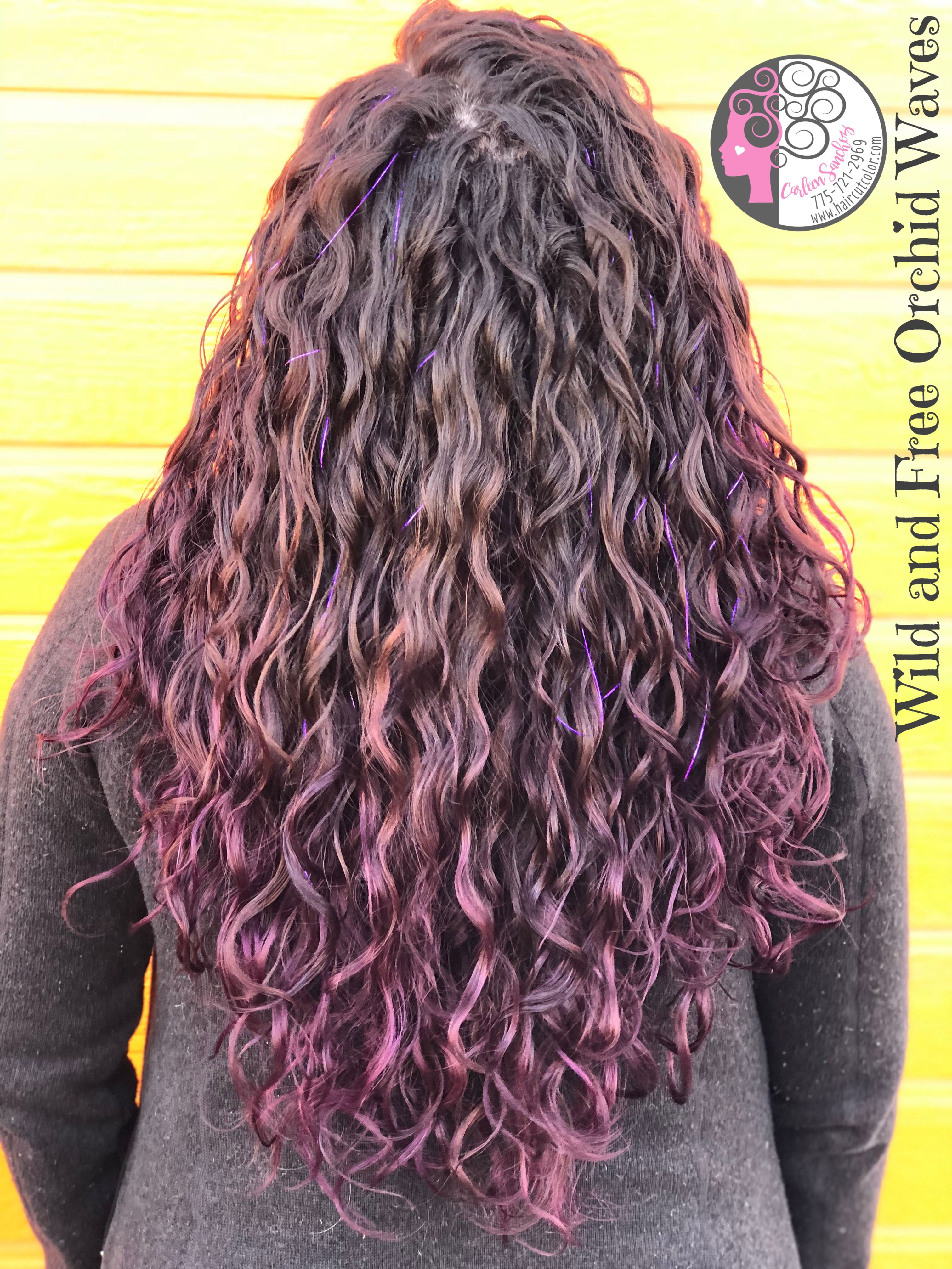Temporary Wild Orchid Purple Naturally Curly Mermaid Hair By Carleen Sanchez Nevada S Curly Hair And Color Expert Mermaid Hair Hair Naturally Curly