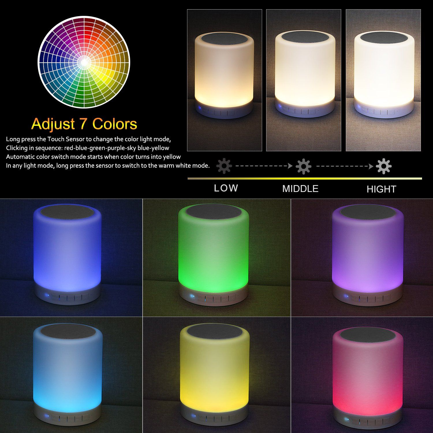 Kimfoxes Led Bluetooth Speaker Wireless Led Bedside Lamp With Touch Control Dimmable Table Lamp Outdoor Portable Handsfree C Light Music Touch Lamp Night Light
