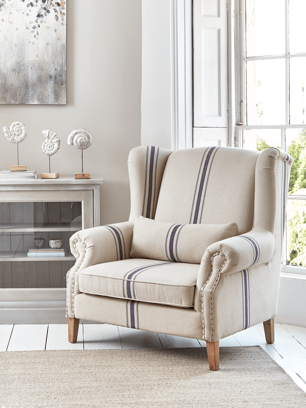 Ana Oversized Armchair French Stripe Oversized Armchair Armchair Occasional Chairs