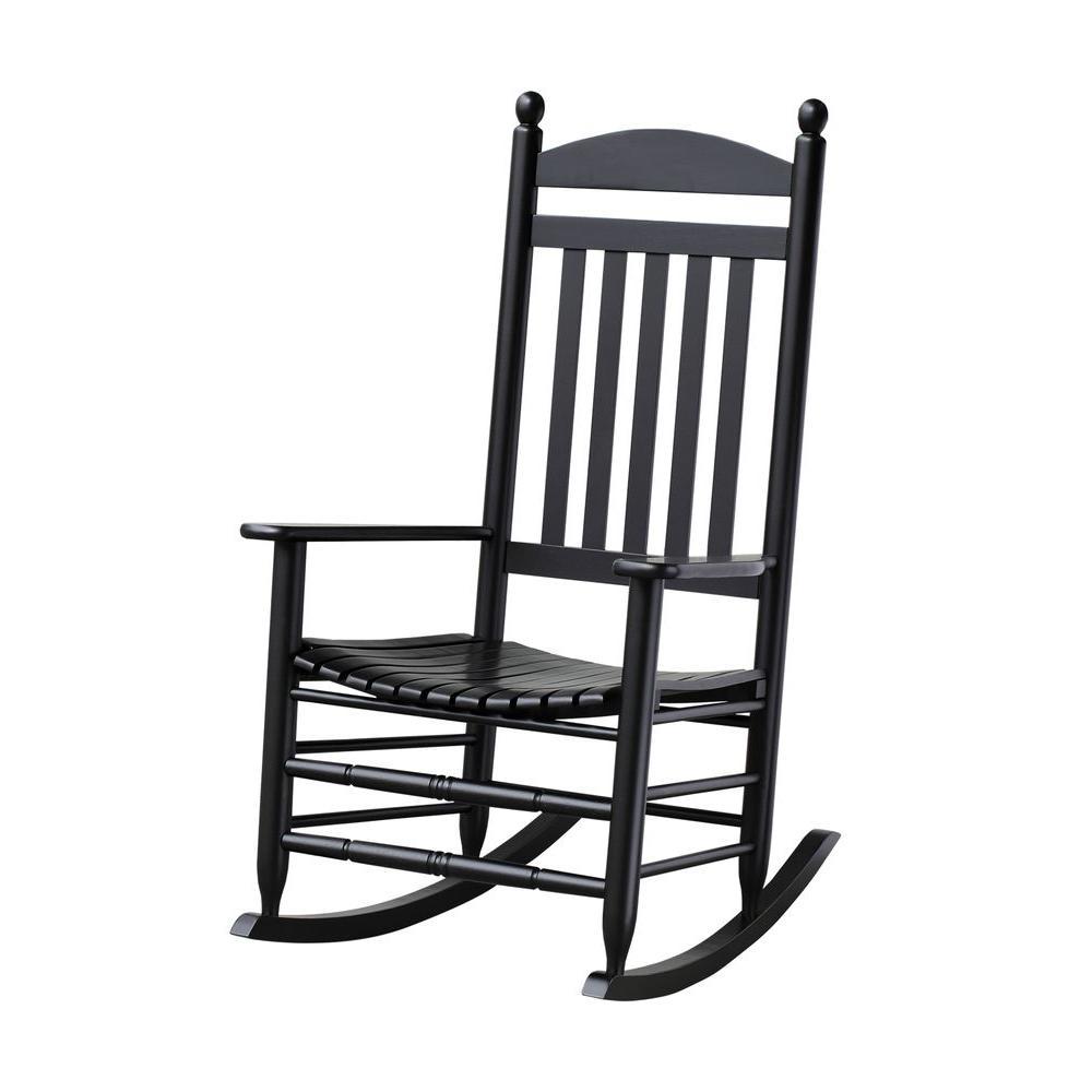 Unbranded Bradley Black Slat Patio Rocking Chair 200sbf Rta The Home Depot Wood Rocking Chair Patio Rocking Chairs Outdoor Rocking Chairs