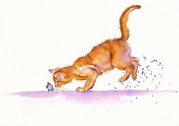 The Huntress. GreyPepperArt. Diana, a little Burmese cat jumps from her viewing ledge to closer inspect a fluttery butterfly...