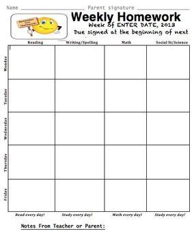 weekly assignment sheet teaching pinterest assignment sheet